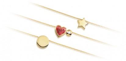 Ketting met mini-ashanger, hart, ster, maan, rond
