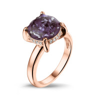 "Ring, smal, grote, ronde ruimte, zilver, goud, diamant ""Gold Line"""