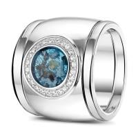 "Ring, breed, open ruimte, zilver, goud, diamant, siders ""Gold Line"""