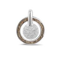 Zilveren vingerafdrukhanger, rond met ring SeeYou