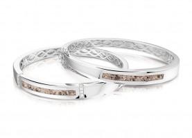 Zilveren slaven-armband met open ruimte, 2 varianten