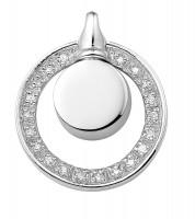 Ashanger, zilver, rond met zirkoniacirkel