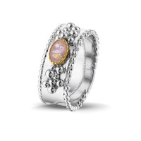 """Zilveren ring met open ovale ruimte en accenten """"Royals"""""""