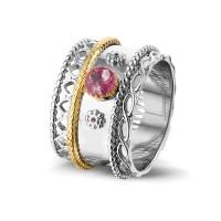 """Zilveren ring, middel open ronde ruimte, accenten """"Royals"""""""