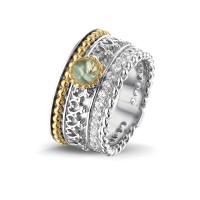 """Zilveren ring, open ronde ruimte, accenten, zirkonia's """"Royals"""""""