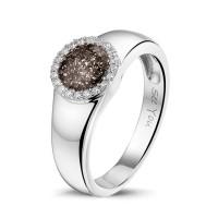 Zilveren ring met ronde open ruimte, zirkonia