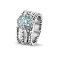 """Zilveren ring, grote ovale open ruimte, accenten """"Royals"""""""