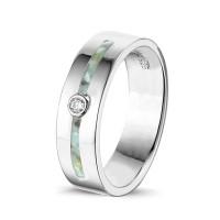 Zilveren ring met dubbele smalle open ruimte en zirkonia