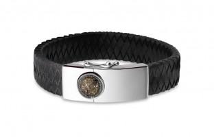 Lederen armband met ronde open ruimte op sluiting