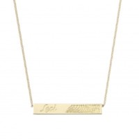 Bar collier vingerafdruk gravure in 14kt goud, Just Franky