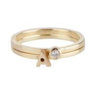 Capital ring met diamant in 14kt goud, Just Franky