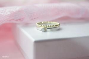 Zilver met goud, dubbele ring, los, Mimmie Sieraden