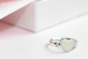 Larissaring, zilver, open ruimte hart, diamant, Mimmie Sieraden