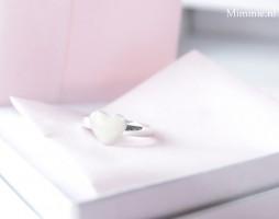 Ring, zilver, grote open ruimte hart, Mimmie Sieraden
