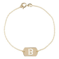 Inital tag armband chain, 14kt goud, Just Franky