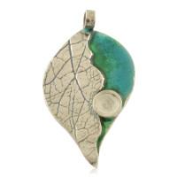 Zilveren hanger blad / hart