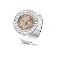 Zilveren ring met open ronde ruimte, zirkonia's
