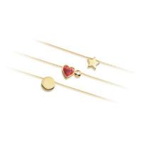 Ketting met mini-hanger, hart, ster, maan, rond