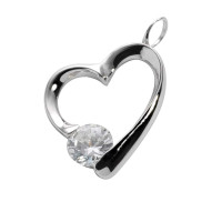 Hanger zilver hartvorm, zirkonia a-symetrisch