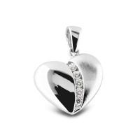 Hanger zilver hart klein, zirkonia's