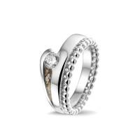 """Zilveren ring met open ruimte, zirkonia, vaste """"aanschuifring"""""""
