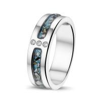 Zilveren ring met twee smalle open ruimtes, zirkonia