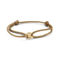 Charm Letter Bracelet, 14kt goud, koord, Just Franky