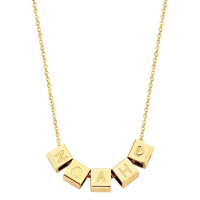 Cubes, 5, inclusief collier, 14kt goud, Just Franky