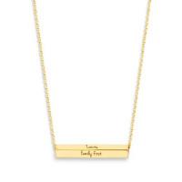 Cube Bar collier, persoonlijk gravure in 14kt goud, Just Franky
