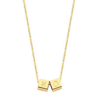 Cubes, 2, inclusief collier, 14kt goud, Just Franky
