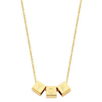 Cubes, 3, inclusief collier, 14kt goud, Just Franky